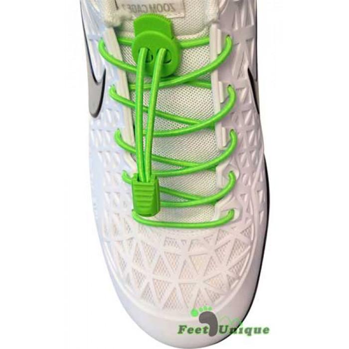 Elastiske, lock, neongrønne skolisser