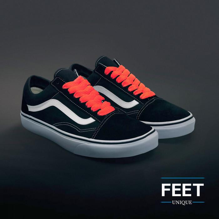 Extra-wide neon orange shoelaces
