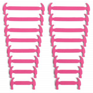 Sjokkrosa elastiske silikon skolisser (No-tie)