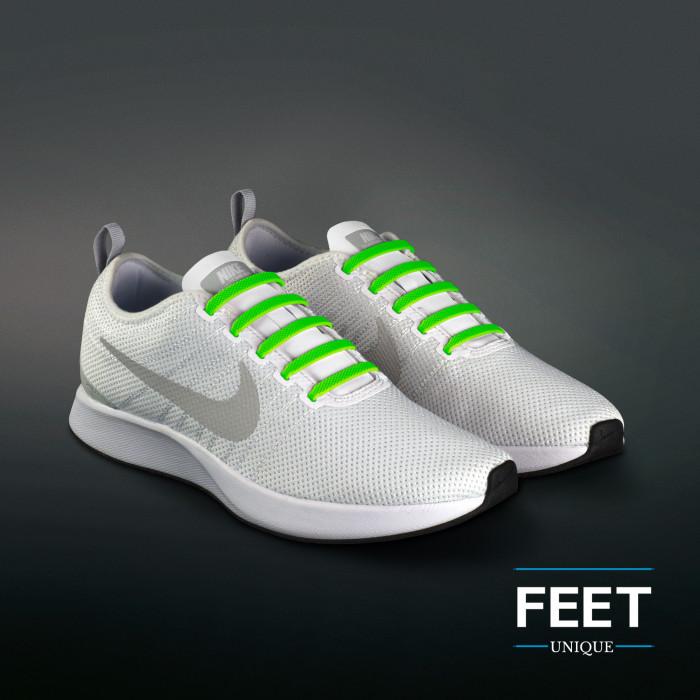 Neongrønne elastiske silikon skolisser (No-tie)